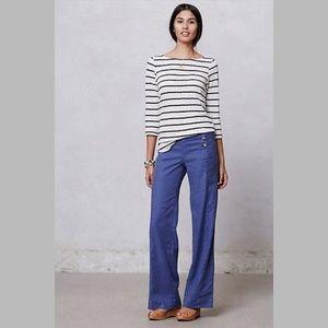 Anthropologie blue cotton sailor trouser pants